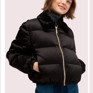 Kate Spade black satin puffer jacket